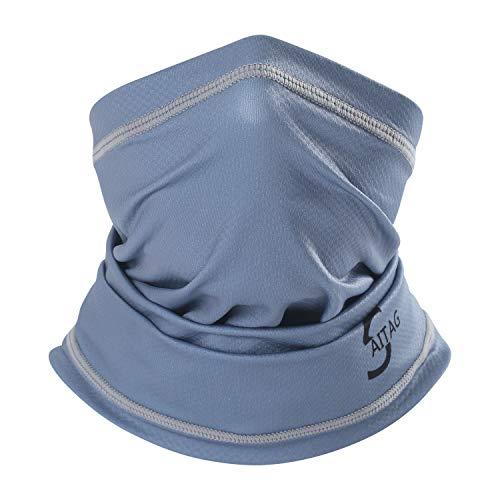 SAITAG Sun Dust Protection Neck Gaiter Breathable Elastic Face Scarf Mask for Hot Summer Cycling Hiking Fishing Grey