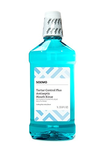 Amazon Brand - Solimo Tartar Control Plus Antiseptic Mouth Rinse, Iceberg Blue Mint, 1 Liter, 33.8 Fluid Ounces, Pack of 1