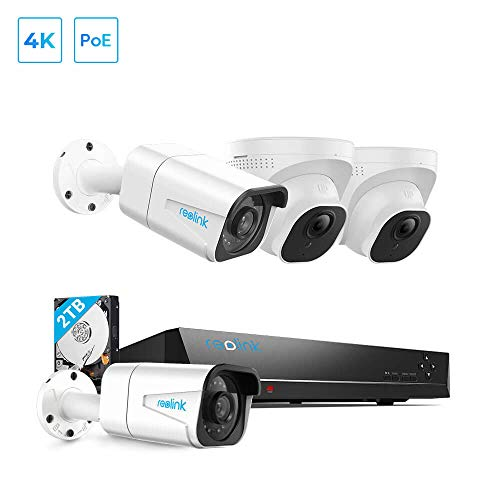 REOLINK 8MP POE Security Camera System, 4pcs 4K Outdoor Security Camera with Audio, 8CH NVR with 2TB HDD for 24x7 Recording, H.265 Wired Camera Kit Night Vision Video Surveillance System RLK8-800B2D2