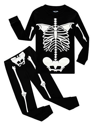 Skeleton Halloween Clothes Pajamas Little Boys Girls Glow in the Dark Skeleton Sleepwear Long Sleeve Kids Pjs Size 6