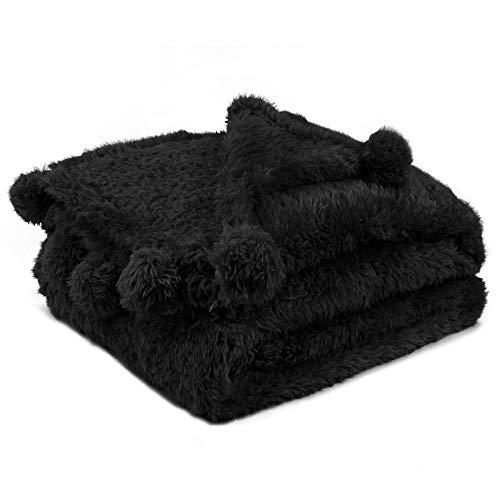 PAVILIA Black Sherpa Throw Blanket for Couch, Pom Pom | Fluffy Plush Soft Blanket for Sofa Bed | Shaggy Warm Fuzzy Fleece Blanket | Cozy Decorative Black Pompom Throw, 50x60