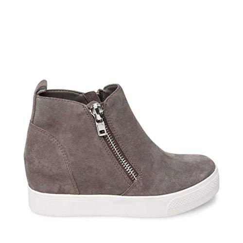 Steve Madden Women's Wedgie Sneaker, Grey Suede, 7.5 M US