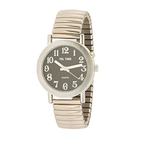Tel-Time Mens Chrome Expansion One Button Talking Watch - Black Face
