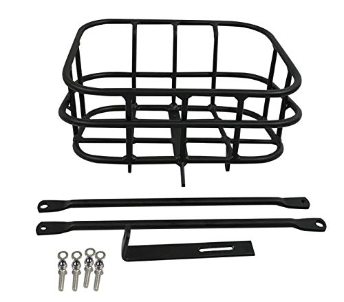 Voltech Metal Standard Front Basket for Electric Bikes and Most Cycling Bike, Aluminum Alloy Frame Easy Install, Holds up to 55Lb