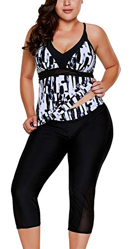 ENLACHIC Women Plus Size Surf Swimwear Rash Guard Swim Capris Tankini Swimsuit,Black White,Large (US 12-14)