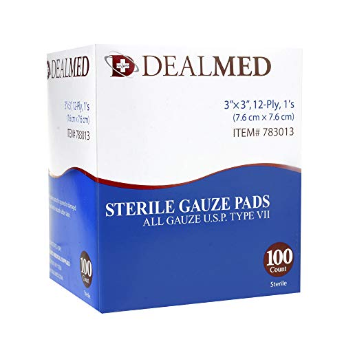 Dealmed Brand Sterile Gauze Pads, Individually Wrapped for Wound Dressing, Highly Absorbent Gauze Sponge Pads for First Aid, Home Kits, and Wound Care, 3'' x 3'' (100/Box)