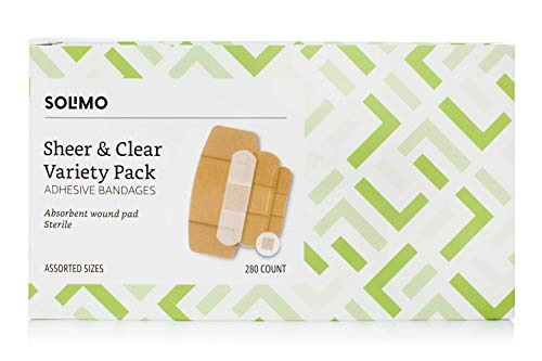 Amazon Brand - Solimo Adhesive Bandage Variety Pack, Sheer and Clear Bandages, Assorted Sizes, 280 Count