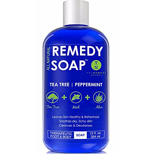 Remedy Soap Tea Tree Oil Body Wash, Helps Body Odor, Athlete's Foot, Jock Itch, Ringworm, Yeast Infections, Skin Irritations, Shower Gel for Women/Men, Natural Mint & Aloe Skin Cleanser 12 Oz