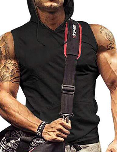 poriff Tank Hoodie Men Muscle Tank Top with Pockets Gym Sleeveless Hoodie Black L