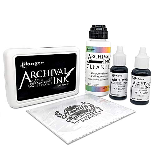 Ranger Jet Black Archival Ink Set - Includes Ink Pad - Two .5fl oz Re-Inkers - Archival Ink Cleaner - Ink is Acid Free - Permanent Waterproof and Non-Toxic - Bundled with Moshify Cleaning Cloth