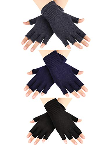 SATINIOR 3 Pairs Half Finger Gloves Winter Fingerless Gloves Knit Gloves for Men Women (Color Set 1), Medium