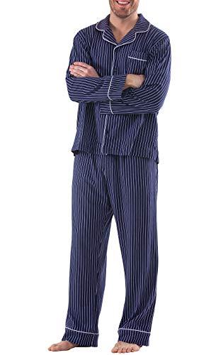 PajamaGram Classic Pajamas for Men - Cotton Mens PJs Set, Navy/White Stripe, L