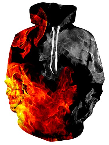 RAISEVERN Unisex Cool Hoodie Funny Drawstring Fire Pullover Sweatshirts 3D Colorful Flame Grey Smoke Print Long Sleeve Shirts Lightweight Black Hooded with Pockets for Men Women
