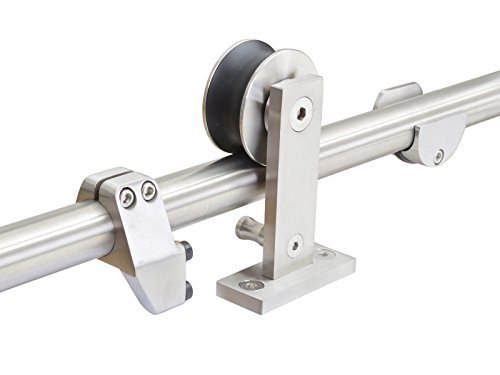 10FT Top Mounted Stainless Steel Wooden Sliding Barn Door Hardware Set(Includes 2 SS Flush Handle as Gift)