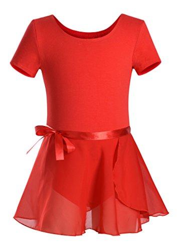 DANSHOW Girls Short Sleeve Leotard with Skirt Kids Dance Ballet Tutu Dresses(4-6,red)