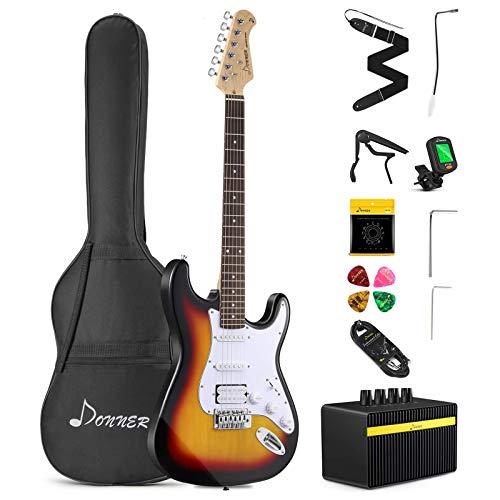 Donner DST-102S Solid Body 39 Inch Full-Size Electric Guitar Kit Sunburst, Beginner Starter, with Amplifier, Bag, Capo, Strap, String, Tuner, Cable, Picks