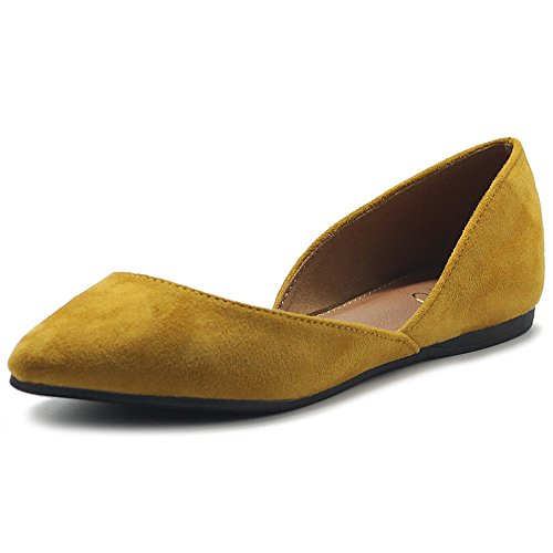 Ollio Women's Shoes Faux Suede Slip On Comfort Light Pointed Toe Ballet Flat ZM1710F (7.5 B(M) US, Mustard)