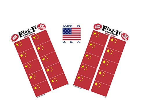 Made in The USA! 2 Packs of Flag-It China Flag Stickers, 100 Chinese Sticker Decals