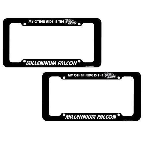 CHROMA Black Star Wars Millennium Flacon License Plate Frame Assembly - One Pair