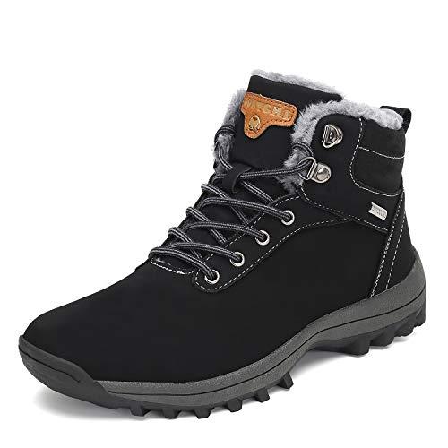 Mens Womens Winter Warm Snow Boots Slip On Waterproof Outdoor Casual Walking Hiking Shoes Black 11.5 Women/10 Men