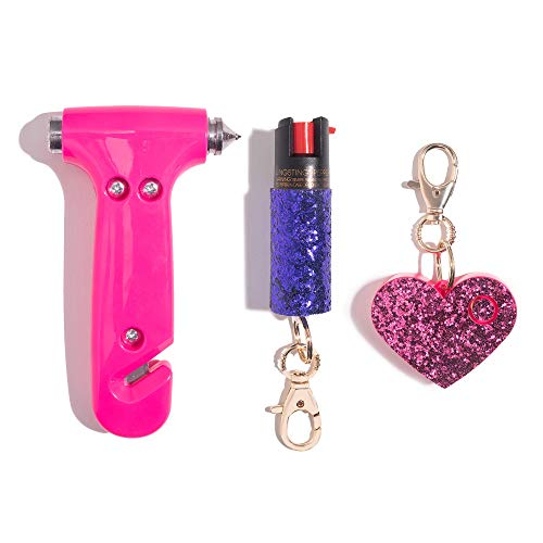 Super-Cute Safety Kit - Includes Emergency Auto Escape Seat Belt Cutter & Window Break Tool, Personal Security Alarm, and Self Defense Pepper Spray - Pink, Pink & Purple
