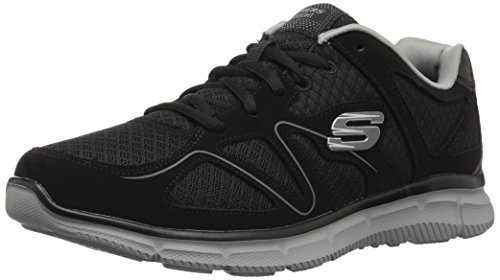 Skechers Flash Point Memory Foam Mens Lace Up Shoes Trainers Black/Grey 11 US