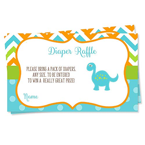 Dinosaur Baby Shower Diaper Raffle Ticket Boys It's a Boy Blue Green Orange Turquoise Chevron Stripes Polka Dots Dino Diaper Wipes Raffle Ticket Insert Request Prize (25 Count)