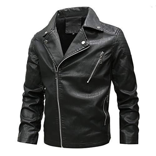 Men's Large Size Imitation Leather Coat Autumn Winter Fashion Zipper Pure Color Jacket Tops Beautyfine Black