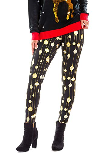 Tipsy Elves Women's Cute Sequined Christmas Ornament Leggings - Female Xmas Leggings with Sequins: M
