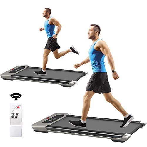 Under Desk Treadmill Walking Jogging Flat Wide Floor Thin Fitnation Treadmill for Home Office Installation-Free for Adults with LED Display Wireless Remote Control 198lb Capacity 0.5-1.75HP 0.8-6KM/H