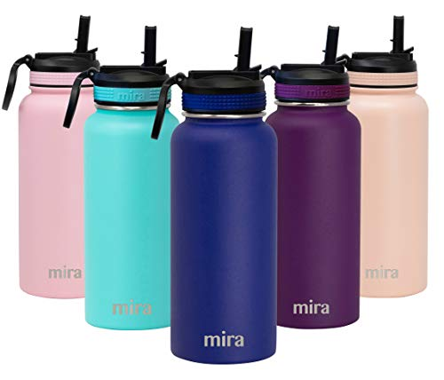 MIRA 32 oz Stainless Steel Water Bottle with Straw Lid - Hydro Vacuum Insulated Metal Thermos Flask Keeps Cold for 24 Hours, Hot for 12 Hours - BPA-Free Straw Cap - Blue
