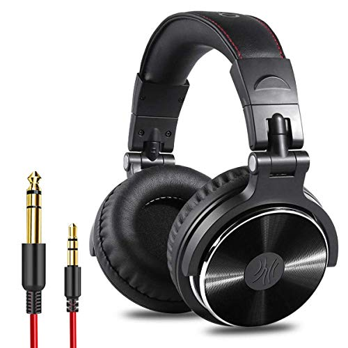 OneOdio Adapter-Free Closed Back Over Ear DJ Stereo Monitor Headphones, Professional Studio Monitor & Mixing, Telescopic Arms with Scale, Newest 50mm Neodymium Drivers - Black (Renewed)
