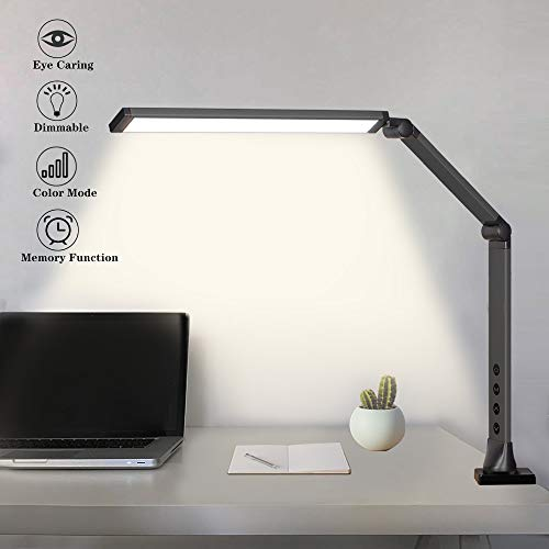 Swing Arm Lamp,14W Eye-Caring LED Desk Lamp with Clamp with Touch Control,Dimmable Light,Memory, Modern Table Lamp for Study Reading Working Office,Bedroom