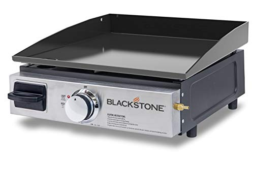 Blackstone 1650 Tabletop Grill without Hood Propane Fuelled – 17 inch Portable Stovetop Gas Griddle-Rear Grease Trap for Kitchen, Outdoor, Camping, Tailgating or Picnicking, Black