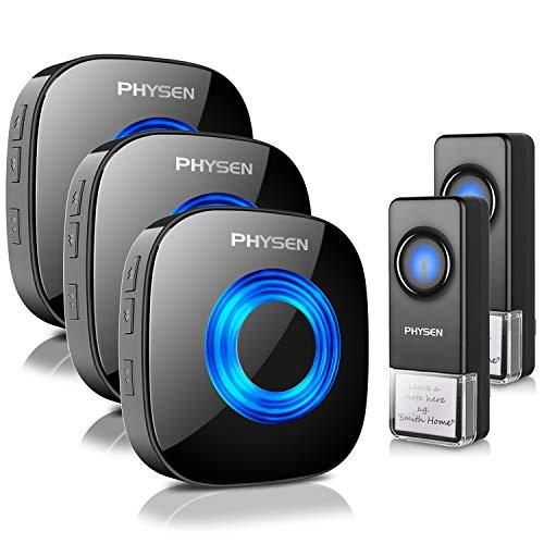 Wireless Doorbell PHYSEN 2020 New Waterproof Door bell Chimes with Mute Mode,58 Doorbell Wireless, 5 Volume Levels,1000-ft Range,3 Receiver & 2 Doorbell Button for Home with LED Strobe -Model CW,Black
