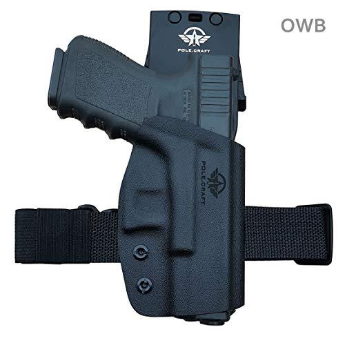 Glock 19 Holster, Kydex OWB Holster For Glock 19 19x / Glock 23 25 32 / Glock 17 22 31 / Glock 26 27 30s 45 (Gen 3 4 5) Pistol Case Waistband Outside Carry 1.5-2 Inch Belt Clip (Black, Right Hand)