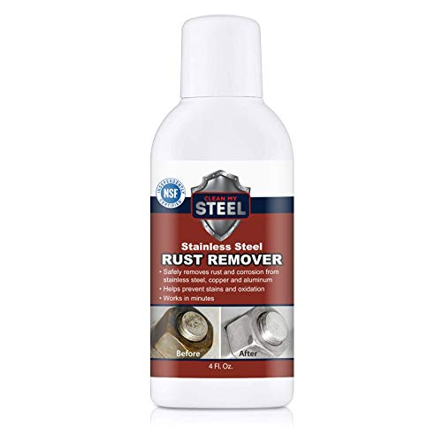 Stainless Steel Rust Remover & Cleaner - Works in Minutes 4oz. Soft Cleanser Liquid and Non Scratch   Multipurpose, Cleaner