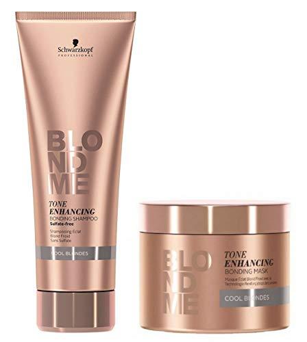 Schwarzkopf Pro Blond Me COOL BLONDES Toning Enhancing Bonding Shampoo 8.4 oz & Mask 6.7 oz (with Sleek Compact Mirror) (Cool Blonde - DUO SET)