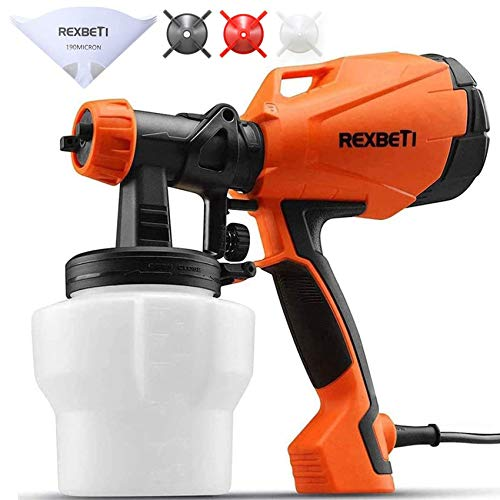 REXBETI Ultimate-750 Paint Sprayer, High Power HVLP Home Electric Spray Gun, Lightweight, Easy Spraying and Cleaning, 5-pcs Paint Strainers, 4 Nozzles(1 Nozzle has Already Been Installed on The Gun)