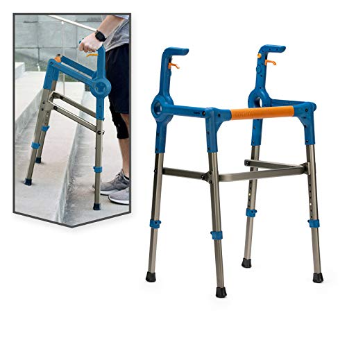 Roami Progressive Mobility Aid, Walker and Self-Adjusting Step Assist, For Going Up and Down Stairs, Ramps, and Steps, Folding and Adjustable, Rehabilitation Aid for Adults or Seniors, Urban Blue