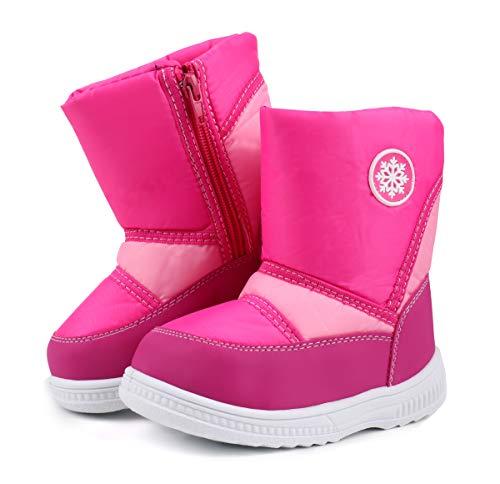 LONSOEN Kid's Boys Girls Snow Boots Fur Lined Warm Winter Booties,Hot Pink CN30