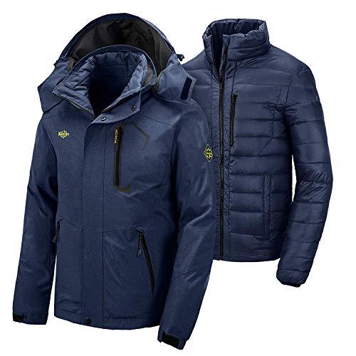 Wantdo Men's 3 in 1 Down Jacket Waterproof Raincoat Warm Ski Jacket Navy XL