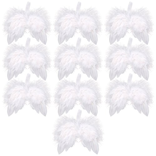 Angel Feather Wings for Crafts, Anladia 10 Pack White Mini Angel Wings,Christmas Decoration Wedding Living Room Window Decorating, 6.3' x 5.1'