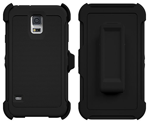 Galaxy S5 Case, ToughBox [Armor Series] [Shock Proof] [Black] for Samsung Galaxy S5 Case [Built in Screen Protector] [With Holster & Belt Clip] [Fits OtterBox Defender Series Belt Clip]