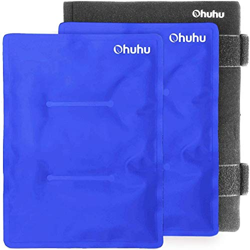 Ohuhu 2 Packs 14' X 11' Large Reusable Gel Ice Pack with Wrap for Hot & Cold Therapy, Ice Pack for Injuries, Pain Relief for Shoulder, Knee, Back, Hip, Aches (XL Blue Cold Pack)