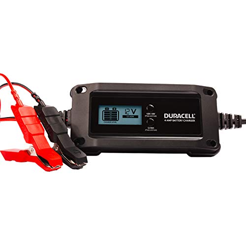 Duracell DRMC4A 4 Amp Battery Charger Maintainer with LCD Display for 6V, 12V, Lithium Ion Battery