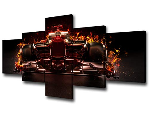 5 Pieces Modern Giclee Canvas Prints Artwork Hot Team Motor Sports Racing Car with Studio Lighting and Fire Effect Picture Stretched and Framed for Living Room Bedroom Home Decorations - 50''Wx24''H