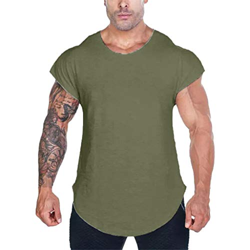 aliveGOT Mens Workout Active Tanks Muscle Shirts Drop Shoulder Bodybuilding Tee (Army Green, 2XL)
