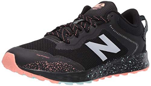 New Balance Kid's Fresh Foam Arishi Trail V1 Lace-Up Running Shoe, Black/Bali Blue/Ginger Pink, 1 W US Little Kid