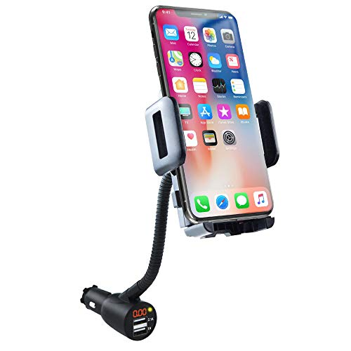 SOAIY 3-in-1 Cigarette Lighter Car Mount + Voltage Detector (Not for Center Console & Window), Dual USB 3.1A Charger with Adjust Gooseneck & 360° Rotating Car Mount Cradle for 1.7-3.7inch Width Phones